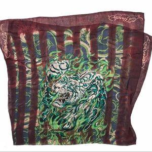 Ed Hardy Tiger Graphic Neckwear Accessory Scarf